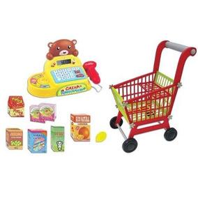 Mini Mercado Caixa Registradora + Carrinho Compras Infantil