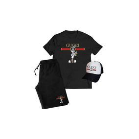 7f3db4ce97 Kit Camiseta + Boné + Bermuda Gucci Perna Longa 4i20