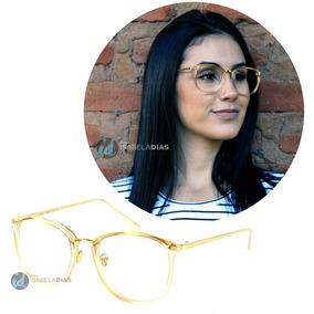 Armação Óculos De Grau Feminino Preto Quadrado Redondo Retro
