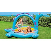 Pileta Pelotero Intex, Inflable Dino Con Sprayer