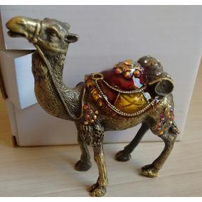 Porta Jóias Metal Trabalhado Pedras Macassita Camelo