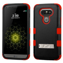 Funda Protector Triple Layer Lg G5 Negro / Rojo C/pie Metali