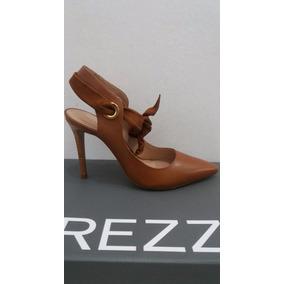 Sapato Scarpin Feminino Arezzo Salto Fino Couro Caramelo