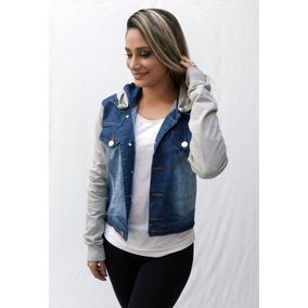 Jaqueta Jeans Moletom Casaco Feminino Blusa Com Capuz Blazer