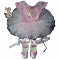 Kit Roupa Bailarina Infantil Tutu Aniversário Criança