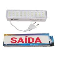 Mini Luminária Emergência 30 Leds / 90lumens- Bateria De Litio / Livre De Manutenção Periódica Ou Preventiva - Luminatti
