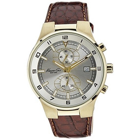 Kenneth Cole Mens Kc1345 Reaction Gold-tone Brown Leather Wa