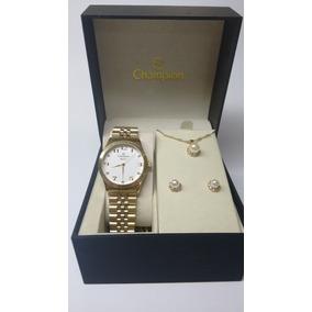 Relógio Champion Feminino Dourado Com Kit Semi Jóias Cn28633
