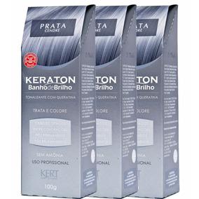 Banho De Brilho Prata Keraton - Kert 100g Com 3 Unidades