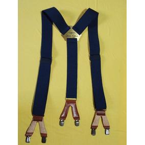 Tirador Pantalón Suspendes Doble Pinza Bronce Azul Marin 4cm