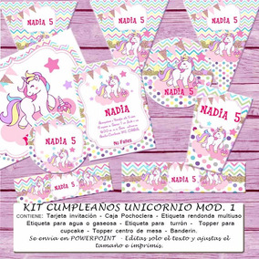 Kit Imprimible Editable Cumpleaños Unicornio Mod 1
