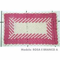 Tapete De Crochê Rosa Retangular P/ Cozinha, Sala, Banheiro