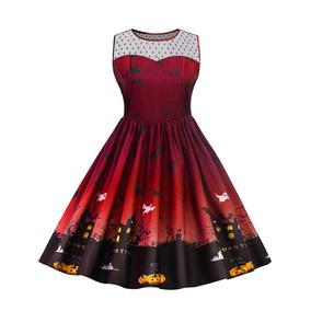 Vestido Halloween Rojo Dark Murciélagos Gótico Cosplay 2xl