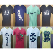 Kit 10 Camisetas Camisas Masculina Gola V Estampadas Atacado