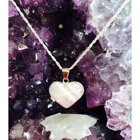 Dije Corazón Cuarzo Rosa Plata Fina 925 Amor