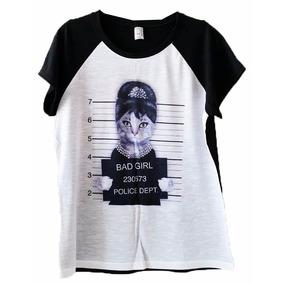 Blusas Raglan Feminina Bad Girl Cat Gato T Shirts