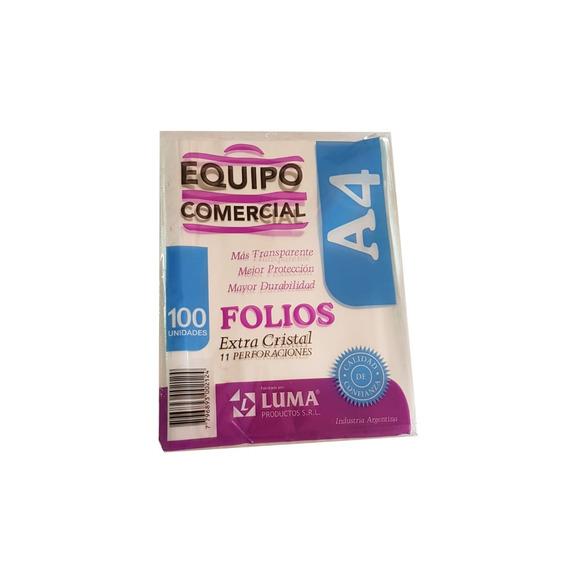 Folios Luma Equipo Comercial A4 X 100 Banda Blanca