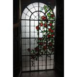 Lindo Vitral Antigo Colorido De Rosas Original Em Arco.