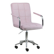 Cadeira Canadá Em Suede Estofada Giratória Base Rodizio