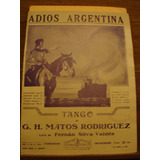 Partitura Adios Argentina Tango Rodriguez Silva Valdés
