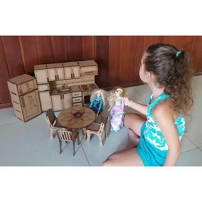 Boneca Barbie Princesas, Moveis Cozinha 1/6 P Casinha Boneca
