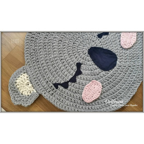 Alfombra Oso Tejida Crochet Totora Trapillo Niños Infantil