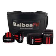 Kit Fitness Cinturón De Fuerza Vendas Muñequeras Crossfit