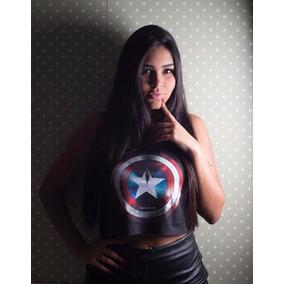 Camiseta Capitao America - Heróis Blusas Regata Cropped