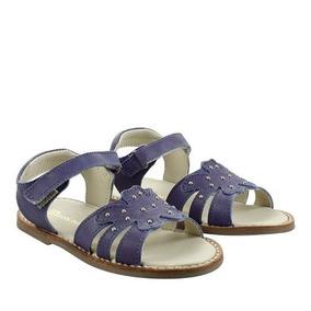 Sandalias De Cuero Azul Con Tachas De Niñas Batistella