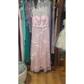 Vestido De Egresados Largo Rosa Con Flores ( Importado )