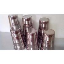 6 Copo Aço Inox 500 Ml - 13 Cm Com Borda Original