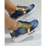 Zapato Deportivo Mujer Jeans Azul Oro Moda Dama Envío Gratis