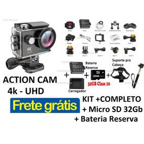Kit Camera Eken H9 R Original 4k Wifi Preta + Brindes +frete