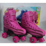 Patins Tradicional Rosa C/4 Rodas Roller Skate Fênix Nº34/35