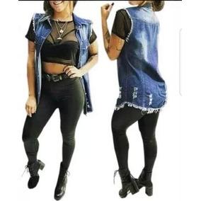 Colete Jeans Comprido Longo Gola Destroyed Aproveite Barato