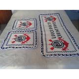 Tapetes-escudo Do Corinthians-jogo De 3 Pçs Em Crochê Duplo