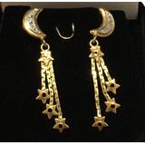 Brinco Ouro Com Brilhantes Meia Lua Estrelas Antigo