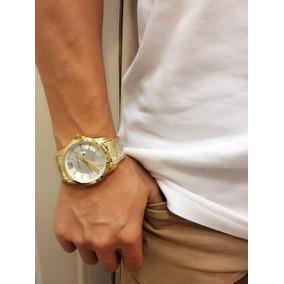 Relógio Masculino Original Atlantis Prata Dourado Aço Homem