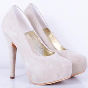 Stilletto Taco Fino Gamuzado Modelo Loreley De Shoes Bayres