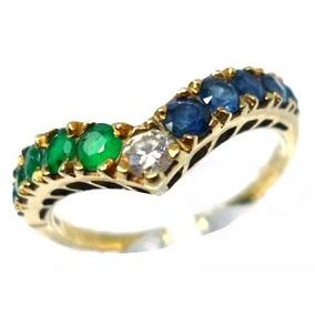 8b2c2033221 Anel Com Esmeralda E Safira Com Brilhantes - Anéis com o melhor ...