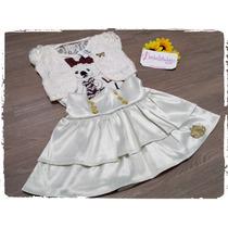 Vestido, Conjunto Infantil Branco. Com Renda.