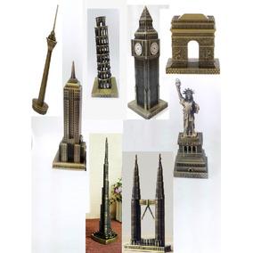 Set X8 Adornos Estatua Libertad Big Ben Pisa Coleccion Metal