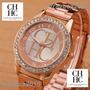 Reloj Dama Carolina Herrera Con Zilcones Color Bronce Rosa