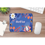 Mousepad Personalizado Flores Y Nombre M107