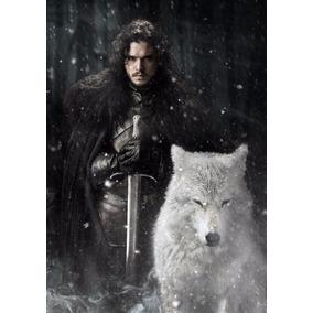 Poster Game Of Thrones Jon Snow Stark Lobo Grande 42x30cm