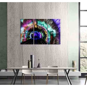 Cuadro Triptico Tunel Luces Color Psicodelico 40x60cm Total
