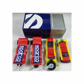 Cinturon Sparco 4 Puntas Con Arnes (rojo) X 2 Butacas