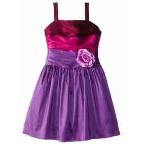 Vestido Fiesta Niña Talla 14 Color Rosa Y Purpura