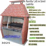 Parrilla Simil Ladrillo De 1,45 M Con División De Fuego