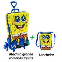 Mochila Bob Esponja 3d Rodinhas Triplas + Lancheira Kit